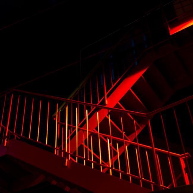 A red stairway in Kobe