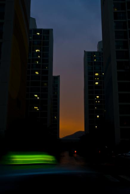Sunset over Dong-bu Olympic Town and Jangsan mountain