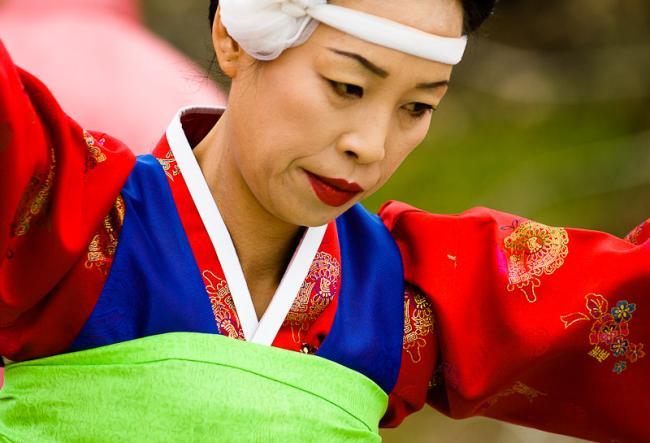 Dancing shaman woman in Korea