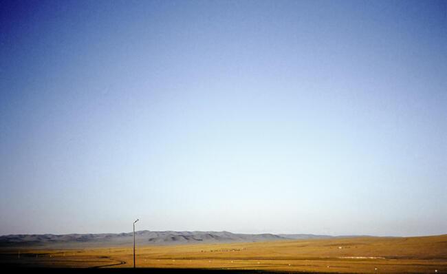 Mongolian steppe and lightpost, 1993