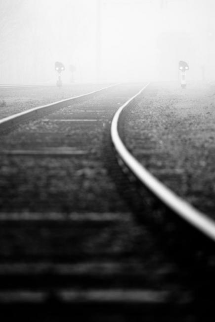 Railroad and signals in fog