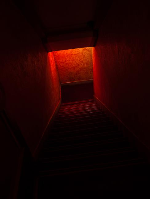 Red entrance to a basement…