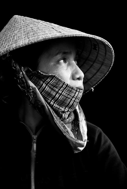 Black and white portrait of a woman, Vietnam