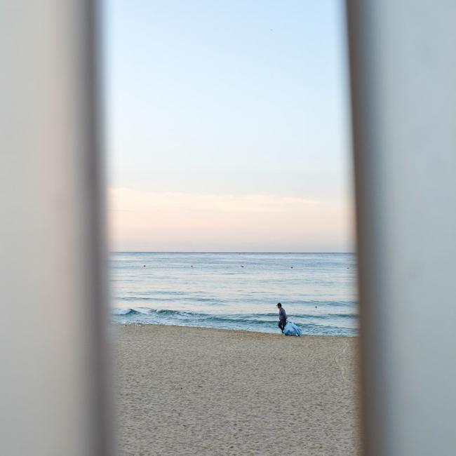 Man on beach, Haeundae, Korea