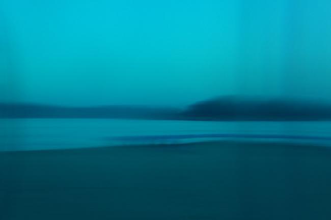 Haeundae Beach in blue, green light. Busan, Korea.
