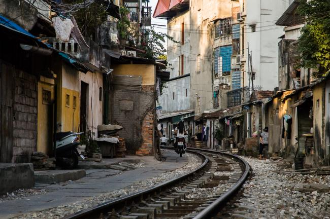 Life at the railroad track, Hanoi, Vietnam